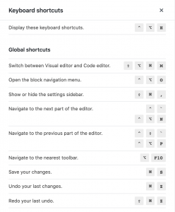 Block Editor keyboard shortcuts panel